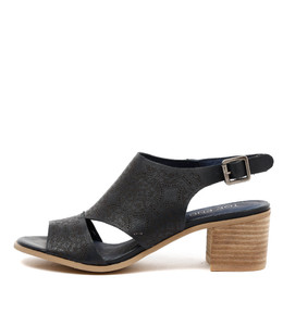 DONDI Mid Heeled Sandals in Navy Leather