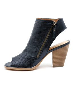 PACHA High Heels in Navy Washed Metallic Leather