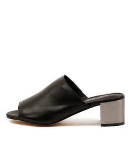 KLING Mid-Heeled Mules in Black Leather