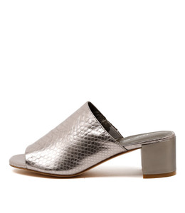 KLING Mid-Heeled Mules in Pewter Leather