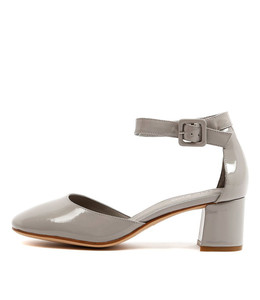 RAYON Mid Heels in Grey Patent Leather