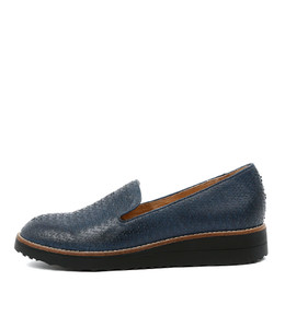 OLKA Flatform Loafers in Navy Cut Leather