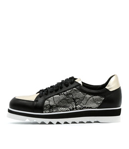 OBARA Lace-up Sneakers in Black/ Multi Leather