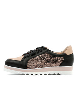 OBARA Lace-up Sneakers in Black/Nude Leather