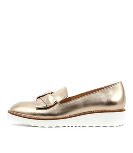 OCLEG Flatform Loafers in Gold Leather