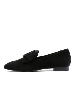 SAVVY Flat Loafers in Black Suede