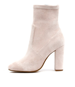 SAMALA Heeled Boots in Nude Stretch Microsuede