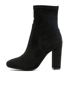 SAMALA Heeled Boots in Black Stretch Microsuede