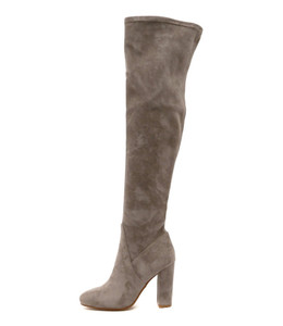 SHARPEST Over the Knee Heeled Boots in Grey Microsuede