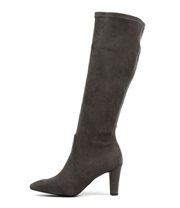 DITHER Knee High Boots in Charcoal Microsuede