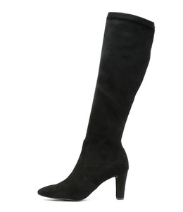 DITHER Knee High Boots in Black Microsuede