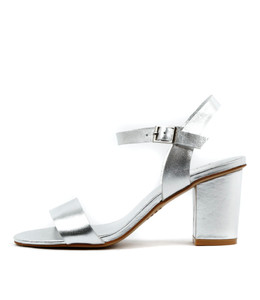 LIPPER Heeled Sandals in Silver Leather