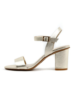 LIPPER Heeled Sandals in Pale Gold Leather