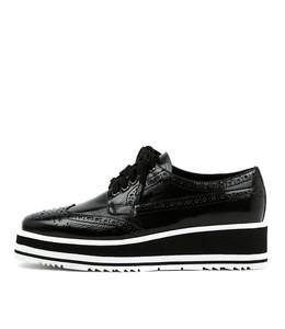SANSI Lace-up Flatforms in Black Shine Leather