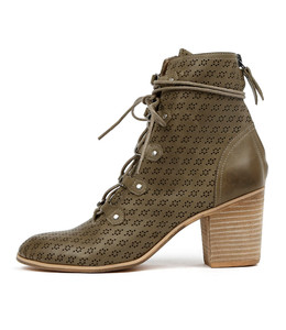 KAYAK Lace-up Booties in Khaki Punched Leather