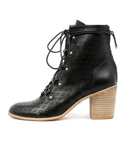 KAYAK Lace-up Booties in Black Punched Leather