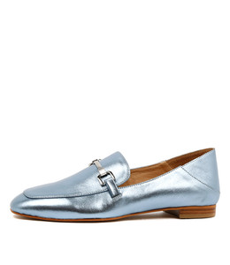 SAVORY Loafers in Mid Blue Metallic Leather