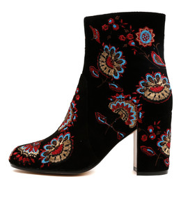 WACO Heeled Boots in Black/Multi Embroidered Suede
