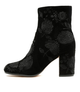 WACO Heeled Boots in Black Embroidered Suede