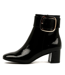 RATCH Heeled Boots in Black Patent Leather