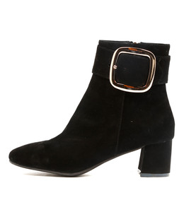 RATCH Heeled Ankle Boots in Black Suede