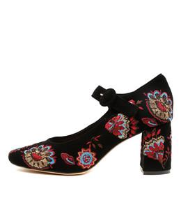 JARINE High Heels in Black/Multi Embroidered Suede