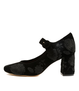 JARINE High Heels in Black Embroidered Suede