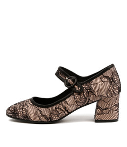SANTINI High Heels in Black Lace/ Nude Leather