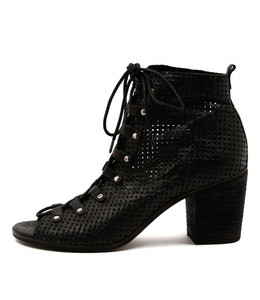 GRIGIO Lace-up Booties in Black Punched Leather