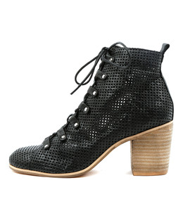 KARAZ Ankle Boots in Black Punched Leather
