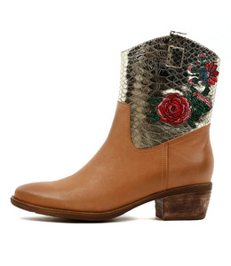 SABINE High Ankle Boots in Dark Tan/ Gold Croc Leather