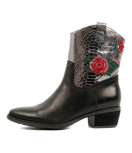 SABINE High Ankle Boots in Black/ Pewter Croc Leather