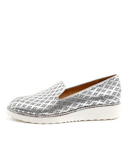 OPOD Flatform Loafers in Silver Wash Leather