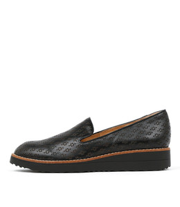 OPOD Flatform Loafers in Black Leather