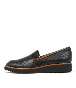 OPOD Flatform Loafers in Black Leather