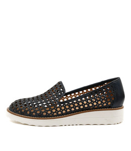OSTA Flatform Loafers in Navy Leather