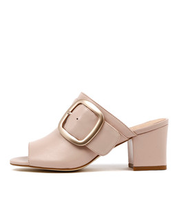 FENN Heeled Mules in Nude Leather