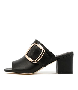 FENN Heeled Mules in Black Leather