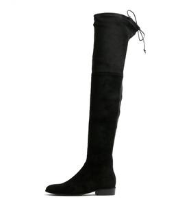 LEER Over The Knee Boots in Black Microsuede