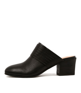 BARONS Heeled Mules in Black Leather