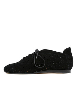GALAS Lace-up Flats in Black Suede