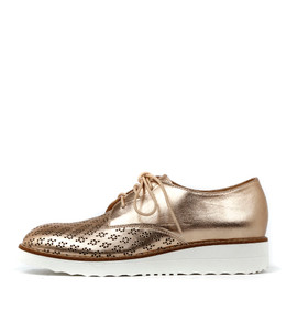 ORIGIN Lace-up Flatforms in Rose Gold Wash Leather