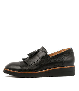 ORETTA Flatform Loafers in Black Leather