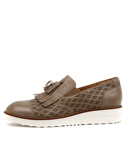 ORETTA Flatform Loafers in Taupe Leather