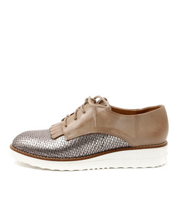 OVAL Lace-up Flatforms in Pewter/ Taupe Leather