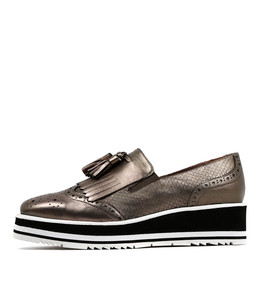 SALETED Flatform Loafers in Champagne Shine Leather