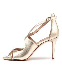 DRILLO Heeled Sandals in Pale Gold Leather