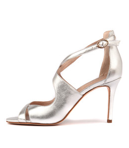 DRILLO Heeled Sandals in Silver Leather