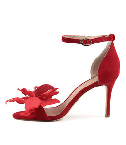 DRYER Heeled Sandals in Red Suede