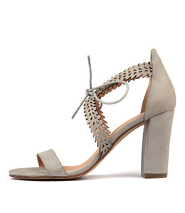 SLEEK Heeled Sandals in Blue Grey Leather